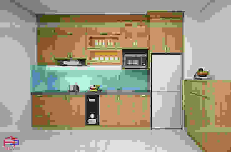 Hình ảnh thiết kế 3D mẫu tủ bếp gỗ sồi mỹ nhà chị Hằng - Bắc Ninh: hiện đại  by Nội thất Hpro, Hiện đại