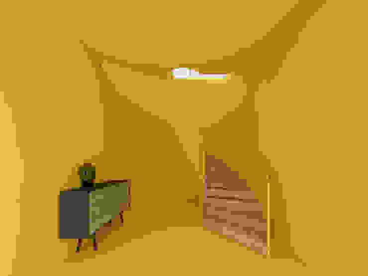 homify Pasillos, vestíbulos y escaleras minimalistas Amarillo