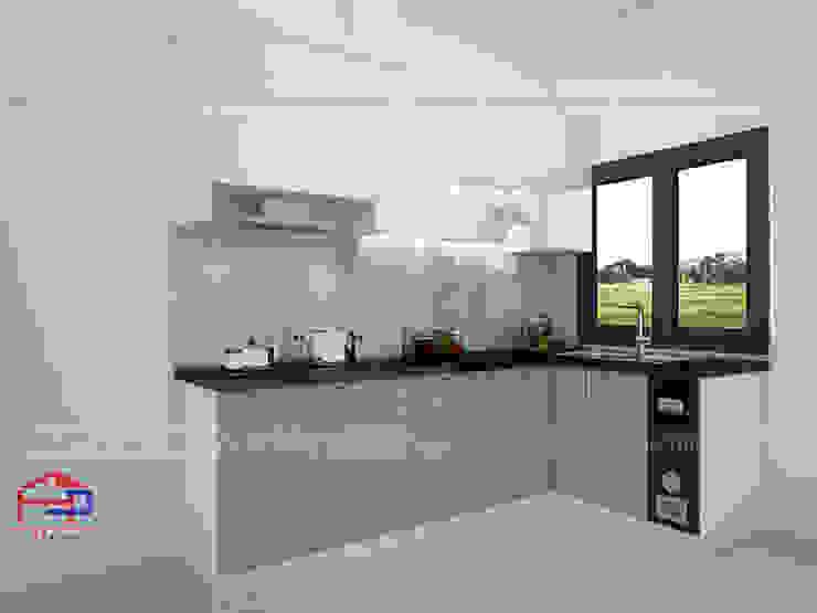 Hình ảnh thiết kế 3D mẫu tủ bếp acrylic nhà cô Tâm - Chùa Bộc: hiện đại  by Nội thất Hpro, Hiện đại