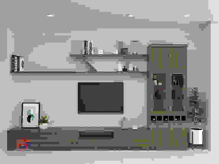 Hình ảnh thiết kế 3D kệ tivi và tủ trang trí trong phòng khách nhà anh Hòa - Lạng Sơn: hiện đại  by Nội thất Hpro, Hiện đại