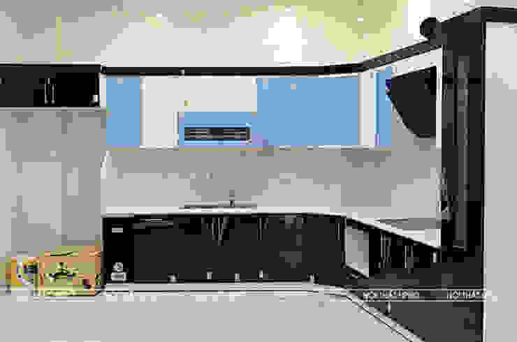 Hình ảnh thực tế bộ tủ bếp acrylic chữ L nhà anh Hoà - Lạng Sơn: hiện đại  by Nội thất Hpro, Hiện đại