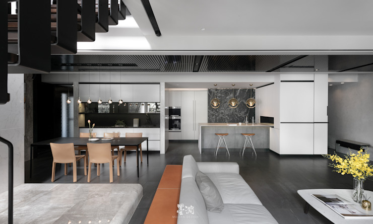 文山散步宅 现代客厅設計點子、靈感 & 圖片 根據 墨澗設計 現代風