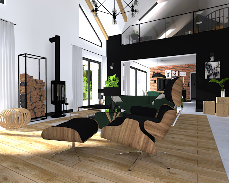 Salon: styl , w kategorii Salon zaprojektowany przez KADA WNĘTRZA S.C.,Industrialny