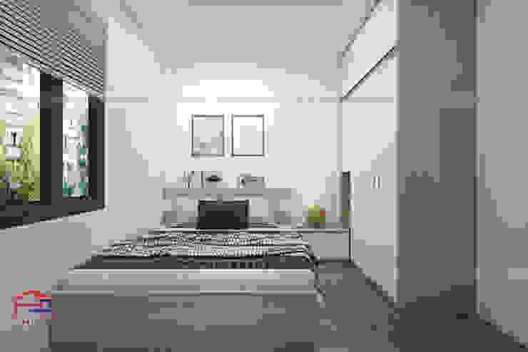 Hình ảnh thiết kế 3D không gian phòng ngủ gỗ melamine nhà chị Vân - Hoài Đức: hiện đại  by Nội thất Hpro, Hiện đại