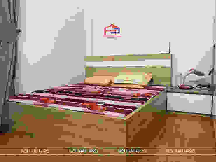 Hình ảnh thực tế không gian phòng ngủ gỗ melamine nhà chị Vân - Hoài Đức: hiện đại  by Nội thất Hpro, Hiện đại