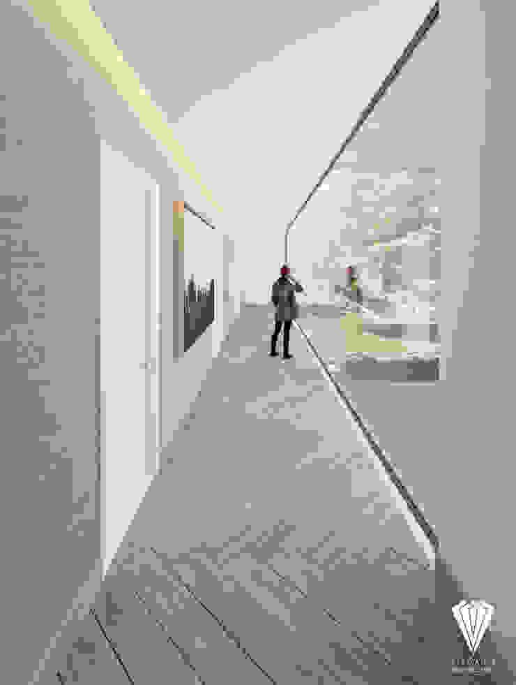 Pasillo Recámaras Pasillos, vestíbulos y escaleras de estilo moderno de Diamante Arquitectura Moderno