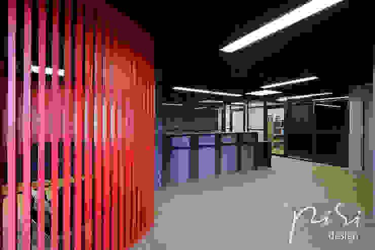 Hall d'accueil du public d'une étude notariale en région parisienne.: Bureaux de style  par Alessandra Pisi / Pisi Design Architectes, Moderne Bois Effet bois