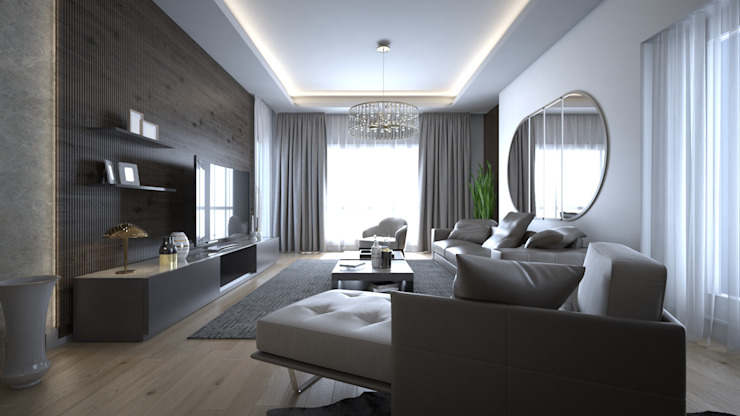 Sinpaş Marina Projesi | Salon Tasarımı HAZER INTERIOR DESIGN STUDIO Modern Oturma Odası