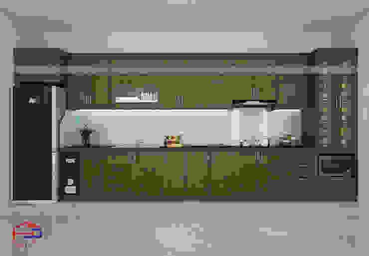 Hình ảnh thiết kế 3D bộ tủ bếp gỗ sồi mỹ nhà anh Tuấn Anh - Nam Định: hiện đại  by Nội thất Hpro, Hiện đại