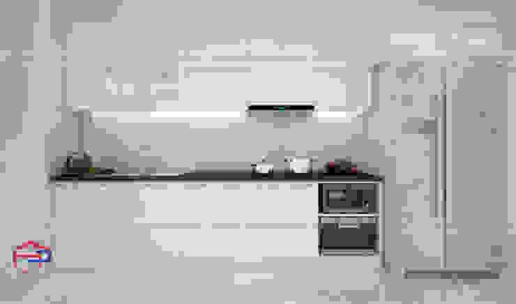 Hình ảnh thiết kế 3D bộ tủ bếp acrylic thùng tủ inox 304 nhà anh Tùng - Lạc Long Quân: hiện đại  by Nội thất Hpro, Hiện đại