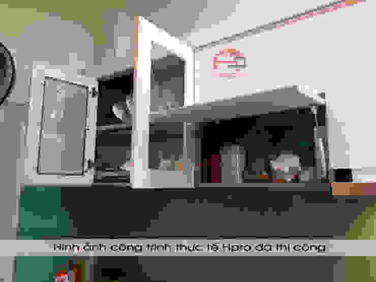 Hình ảnh thực tế bộ tủ bếp thùng tủ inox 304 cánh gỗ acrylic nhà anh Tùng - Lạc Long Quân: hiện đại  by Nội thất Hpro, Hiện đại