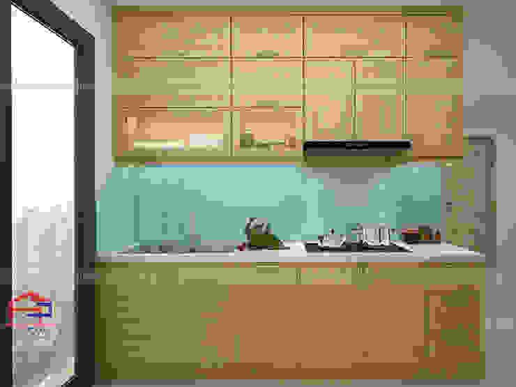 Hình ảnh thiết kế 3D bộ tủ bếp gỗ sồi nga nhà anh Long - Nguyễn Đức Cảnh: hiện đại  by Nội thất Hpro, Hiện đại