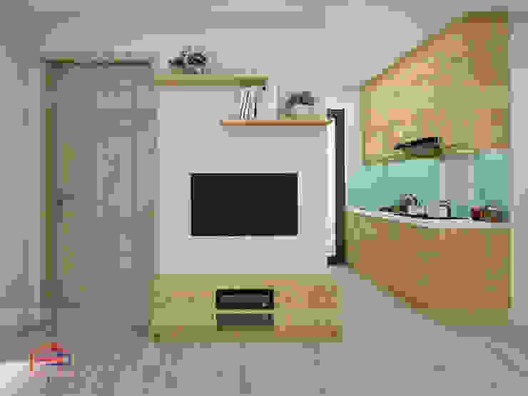 Hình ảnh thiết kế 3D kệ tivi gỗ sồi nga nhà anh Long - Nguyễn Đức Cảnh: hiện đại  by Nội thất Hpro, Hiện đại