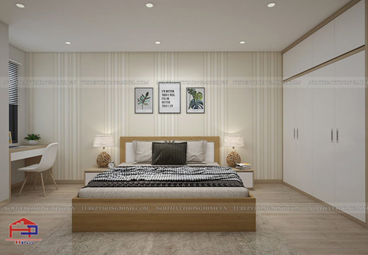 Hình ảnh 3D thiết kế không gian phòng ngủ master nhà anh Long - Nguyễn Đức Cảnh: hiện đại  by Nội thất Hpro, Hiện đại