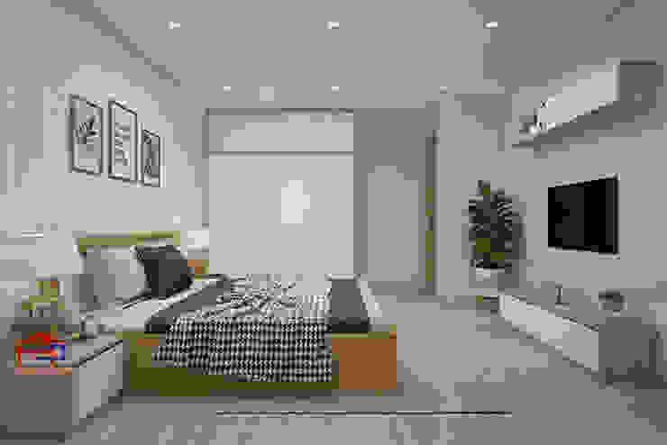Hình ảnh 3D thiết kế nội thất không gian phòng ngủ master nhà anh Long - Nguyễn Đức Cảnh: hiện đại  by Nội thất Hpro, Hiện đại
