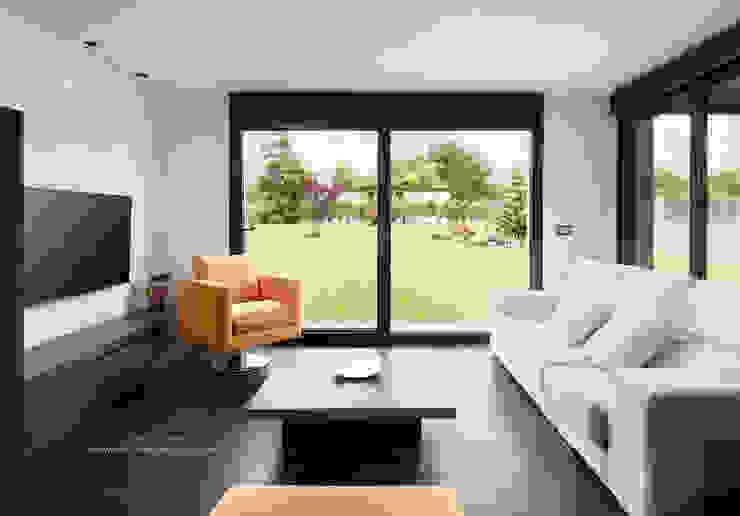 Salón con vistas.: Salones de estilo  de arQmonia estudio, Arquitectos de interior, Asturias,