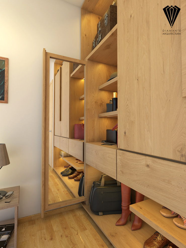 Closet vista 2 Vestidores minimalistas de Diamante Arquitectura Minimalista