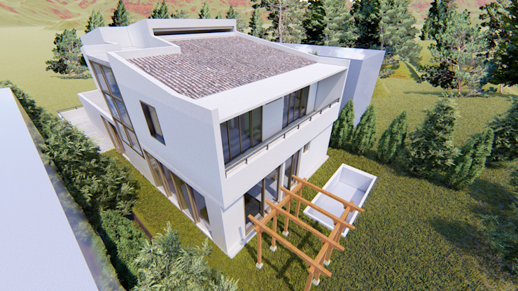 vista aérea de la casa de Dubrovsky Arquitectura Moderno