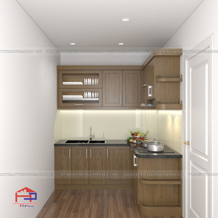 Hình ảnh thiết kế 3D mẫu tủ bếp gỗ sồi mỹ chữ L nhà chú Lập - Hoàng Hoa Thám: hiện đại  by Nội thất Hpro, Hiện đại
