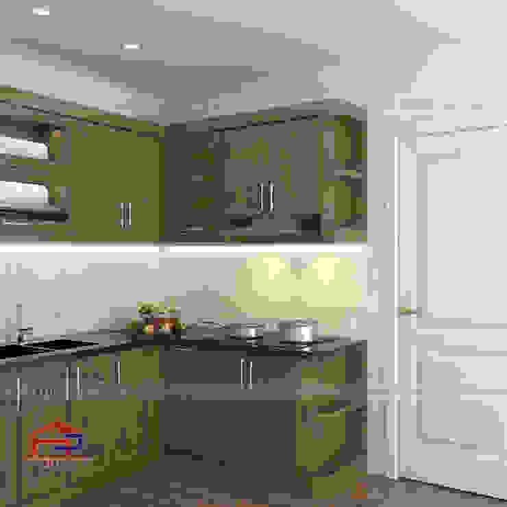 Hình ảnh thiết kế 3D bộ tủ bếp gỗ sồi mỹ nhà chú Lập - Hoàng Hoa Thám: hiện đại  by Nội thất Hpro, Hiện đại