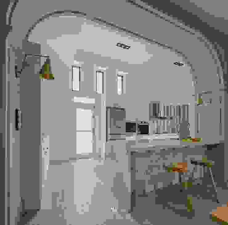 紛染.綿綿|Trochee of Tints 理絲室內設計有限公司 Ris Interior Design Co., Ltd. 小廚房 複合木地板 Blue