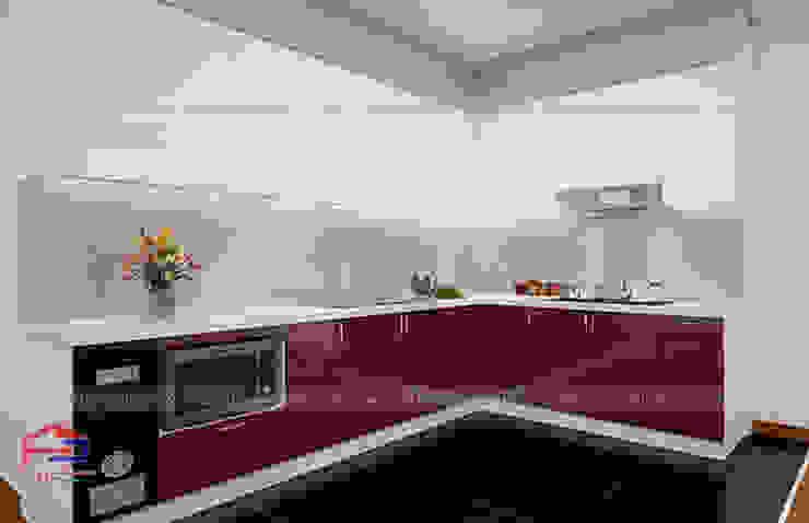 Hình ảnh thiết kế 3D bộ tủ bếp acrylic nhà anh Hoàng - Đại Từ: hiện đại  by Nội thất Hpro, Hiện đại