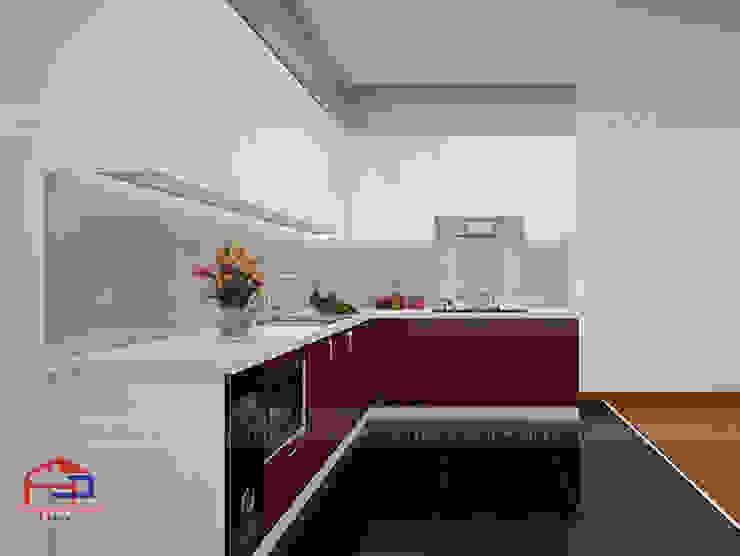 Hình ảnh thiết kế 3D bộ tủ bếp acrylic kịch trần nhà anh Hoàng - Đại Từ: hiện đại  by Nội thất Hpro, Hiện đại