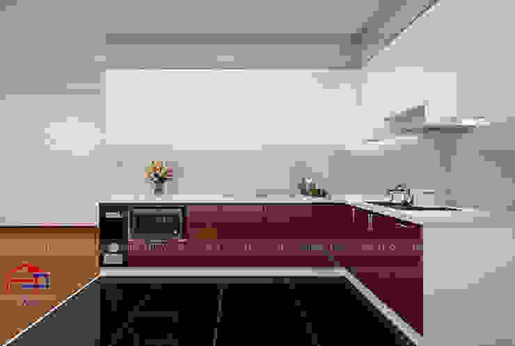 Hình ảnh thiết kế 3D bộ tủ bếp acrylic chữ L nhà anh Hoàng - Đại Từ: hiện đại  by Nội thất Hpro, Hiện đại