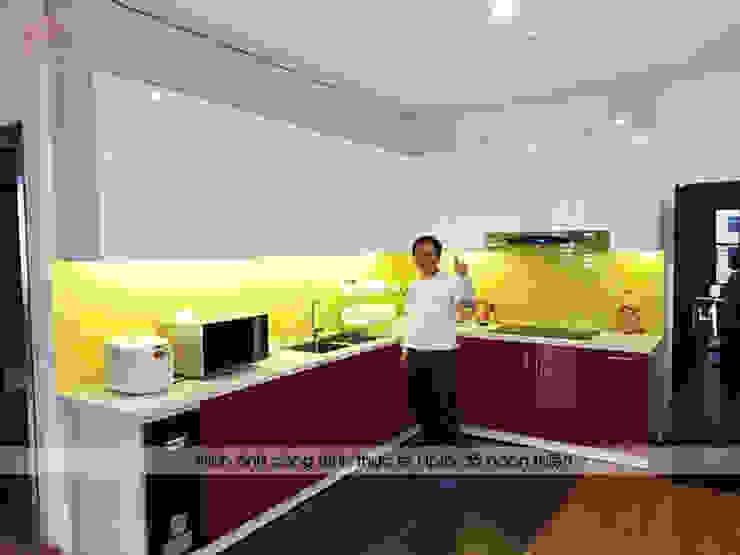 Hình ảnh thực tế bộ tủ bếp acrylic nhà anh Hoàng - Đại Từ: hiện đại  by Nội thất Hpro, Hiện đại