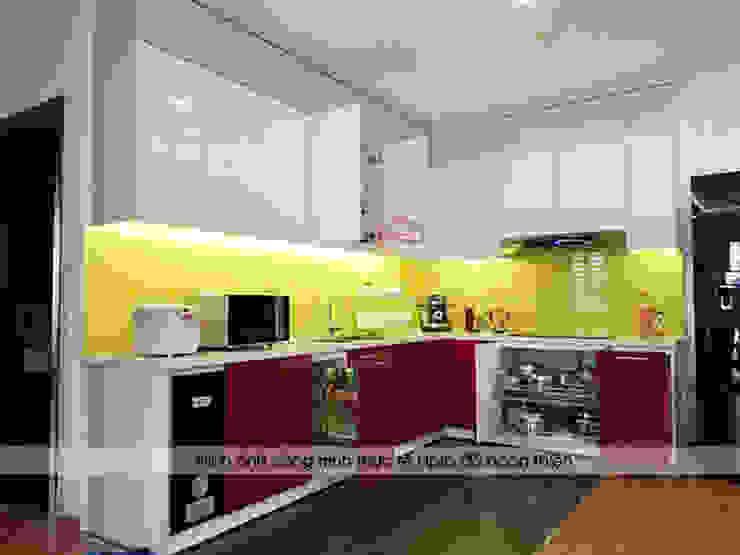 Hình ảnh thực tế bộ tủ bếp acrylic chữ L nhà anh Hoàng - Đại Từ: hiện đại  by Nội thất Hpro, Hiện đại