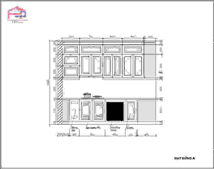 Bản vẽ chi tiết 2D tủ bếp gỗ sồi nga nhà cô Thúy – Láng Hạ – Mặt đứng nhìn bếp từ: hiện đại  by Nội thất Hpro, Hiện đại