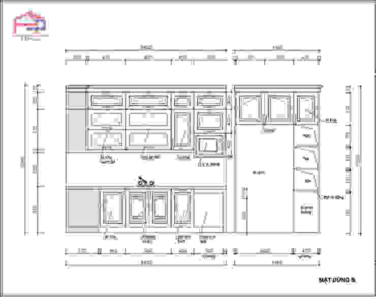 Bản vẽ chi tiết 2D tủ bếp gỗ sồi nga nhà cô Thúy – Láng Hạ – Mặt đứng nhìn chậu rửa: hiện đại  by Nội thất Hpro, Hiện đại