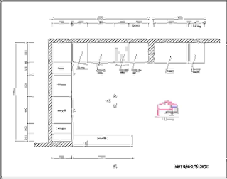Bản vẽ chi tiết 2D tủ bếp gỗ sồi nga nhà cô Thúy – Láng Hạ – Mặt bằng tủ bếp dưới: hiện đại  by Nội thất Hpro, Hiện đại