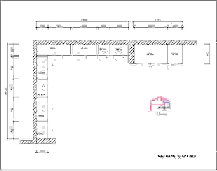 Bản vẽ chi tiết 2D tủ bếp gỗ sồi nga nhà cô Thúy – Láng Hạ – Mặt bằng tủ bếp kịch trần: hiện đại  by Nội thất Hpro, Hiện đại