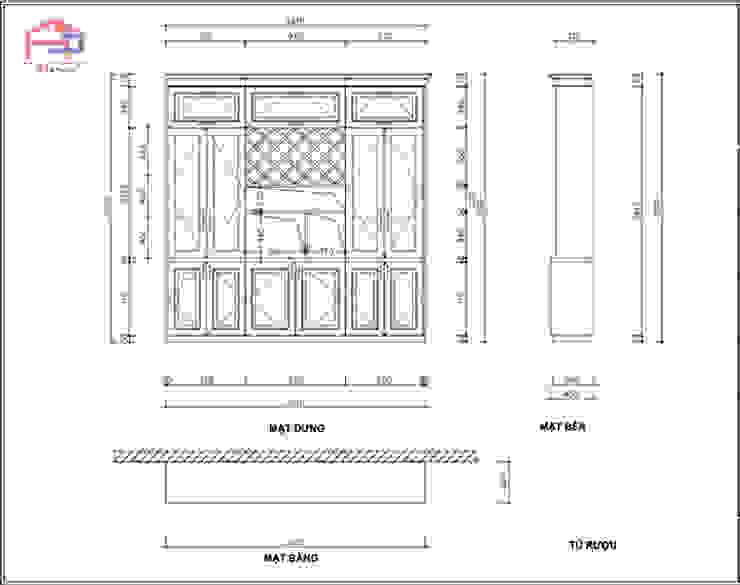 Bản vẽ chi tiết 2D tủ rượu gỗ sồi nga nhà cô Thúy – Láng Hạ: hiện đại  by Nội thất Hpro, Hiện đại