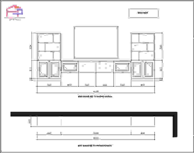 Bản vẽ chi tiết 2D kệ ti vi phòng khách gỗ sồi nga nhà cô Thúy – Láng Hạ: hiện đại  by Nội thất Hpro, Hiện đại