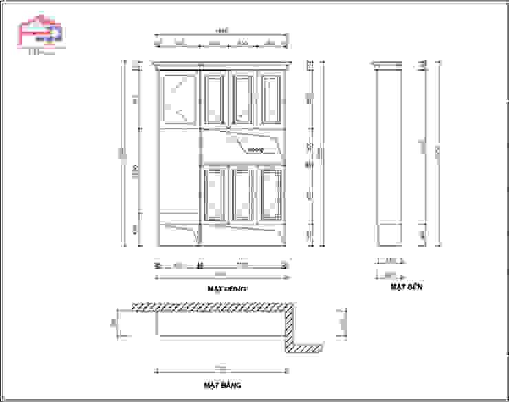 Bản vẽ 2D tủ giày gỗ sồi nga nhà cô Thúy – view 1: hiện đại  by Nội thất Hpro, Hiện đại