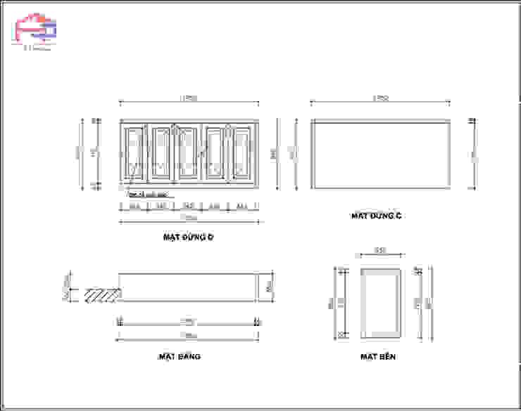 Bản vẽ 2D tủ giày gỗ sồi nga nhà cô Thúy – view 2: hiện đại  by Nội thất Hpro, Hiện đại