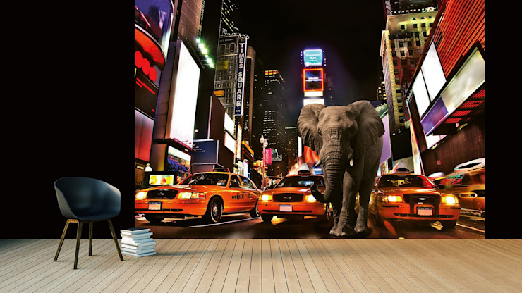 Elephant in New York: modern  by United wallcoverings, Modern Textile Amber/Gold