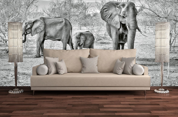 Elephant Family: country  by United wallcoverings, Country Textile Amber/Gold
