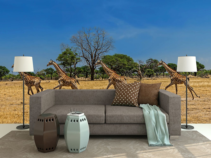 Running Giraffes: country  by United wallcoverings, Country Textile Amber/Gold