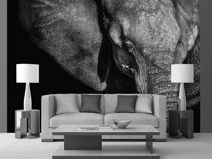 Beautiful Elephant: country  by United wallcoverings, Country Textile Amber/Gold