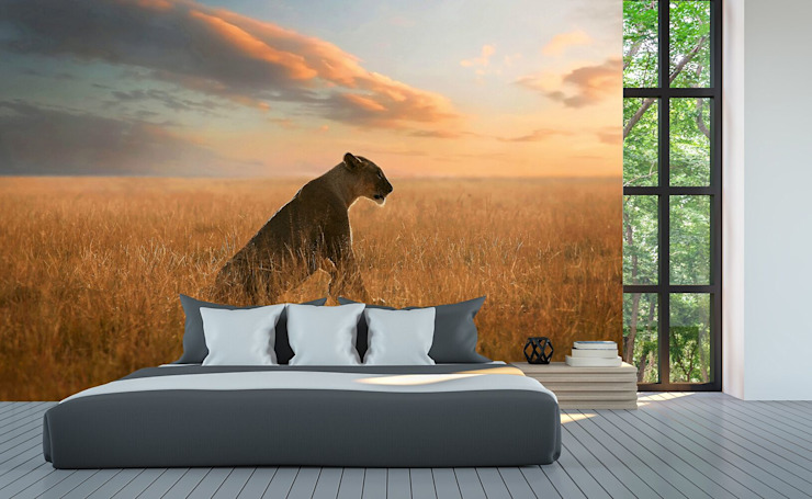 Lioness: country  by United wallcoverings, Country Textile Amber/Gold