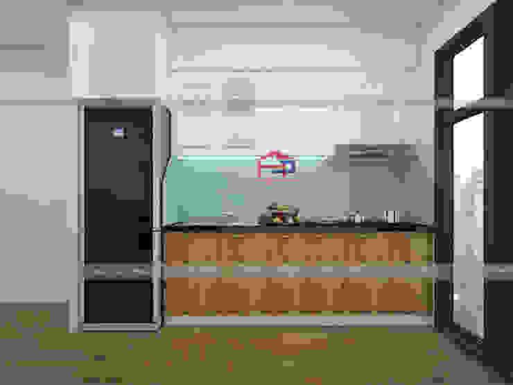 Hình ảnh thiết kế 3D bộ tủ bếp acrylic kết hợp laminate nhà anh Tú - Ngọc Hồi: hiện đại  by Nội thất Hpro, Hiện đại