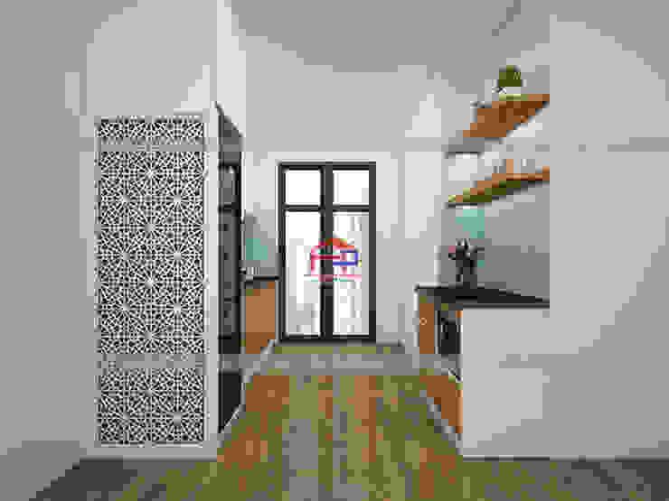 Hình ảnh thiết kế 3D mẫu tủ bếp acrylic kết hợp laminate nhà anh Tú - Ngọc Hồi: hiện đại  by Nội thất Hpro, Hiện đại