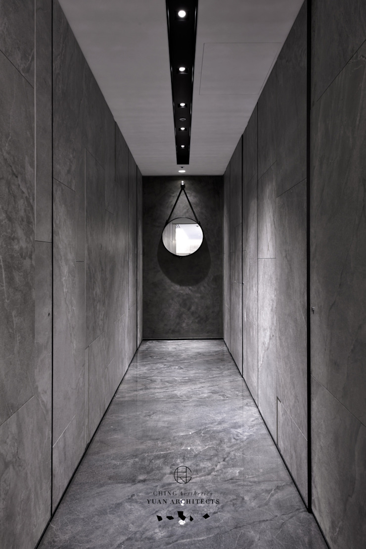 明日陸府 - 现代客厅設計點子、靈感 & 圖片 根據 行一建築 _ Yuan Architects 現代風