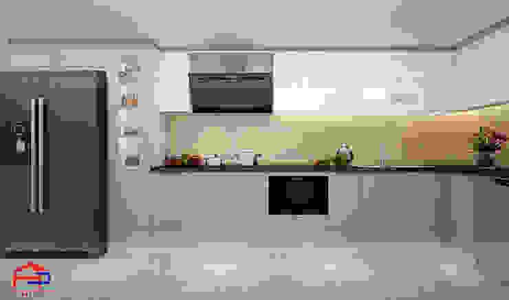 Hình ảnh thiết kế 3D bộ tủ bếp acrylic nhà anh Thành - Thụy Khuê: hiện đại  by Nội thất Hpro, Hiện đại
