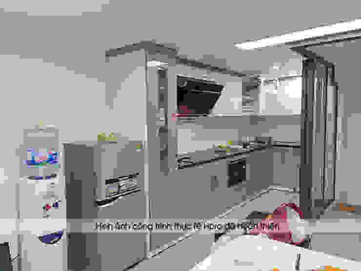 Hình ảnh thực tế bộ tủ bếp acrylic chữ L nhà anh Thành - Thụy Khuê: hiện đại  by Nội thất Hpro, Hiện đại