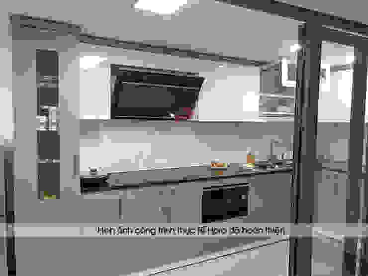 Hình ảnh thực tế bộ tủ bếp acrylic màu trắng - ghi nhà anh Thành - Thụy Khuê: hiện đại  by Nội thất Hpro, Hiện đại