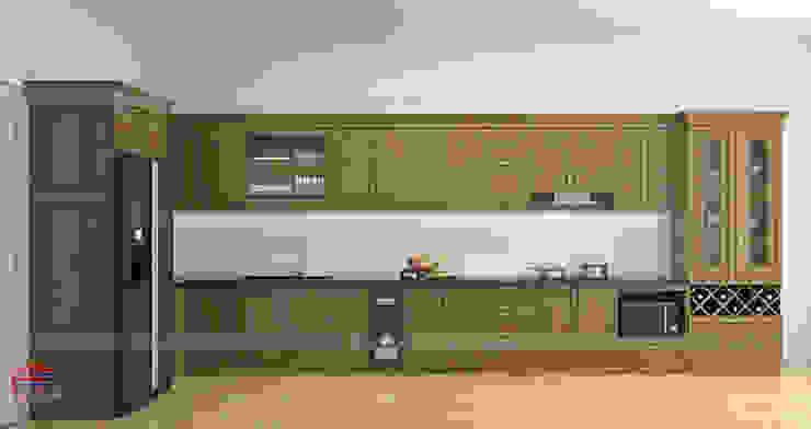 Hình ảnh thiết kế 3D bộ tủ bếp gỗ sồi mỹ nhà chị Thập - Hải Phòng: hiện đại  by Nội thất Hpro, Hiện đại